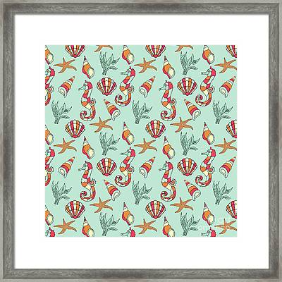 Nautical Seahorse Seashell And Seaweed Pattern Framed Print by Susan Cooper