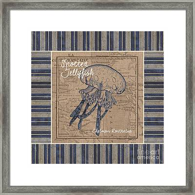 Nautical Stripes Jellyfish Framed Print by Debbie DeWitt