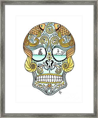 Nautical Sugar Skull Framed Print