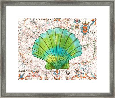 Framed Print featuring the painting Nautical Treasures-b by Jean Plout