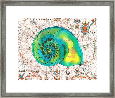 Framed Print featuring the painting Nautical Treasures-n by Jean Plout