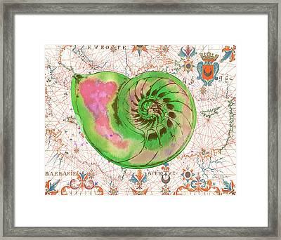 Framed Print featuring the painting Nautical Treasures-o by Jean Plout
