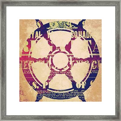 Nautical Wheel Framed Print by Brandi Fitzgerald