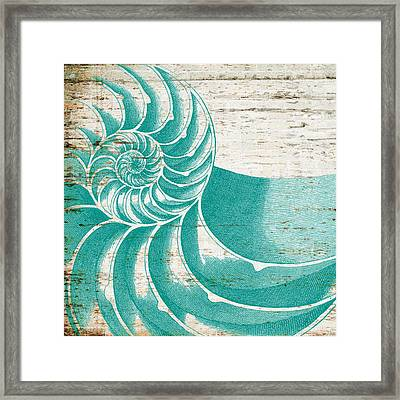 Nautilus Shell Distressed Wood Framed Print