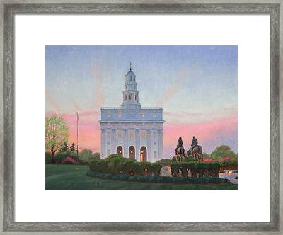 Nauvoo Temple In Spring Framed Print by Warren Neary