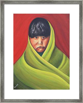 Navajo Child After E.s. Curtis Framed Print