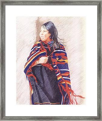 Navajo Girl Framed Print by Karen Clark