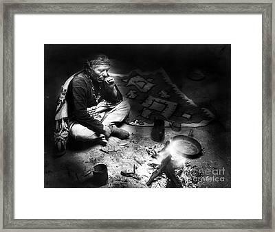 Navajo Man Smoking, C1915 Framed Print