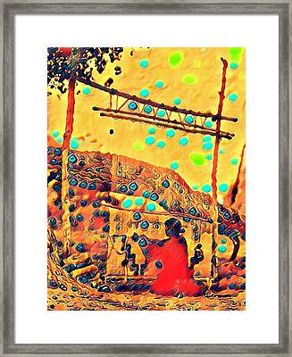 Navajo Woman Weaving 1 Framed Print