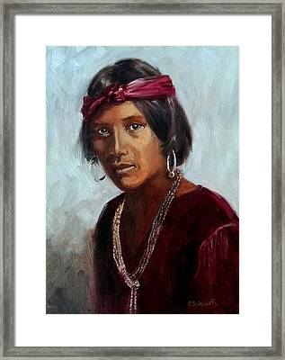 Navajo Youth Framed Print by Connie Schaertl