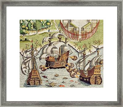 Naval Battle Between The Portuguese And French In The Seas Off The Potiguaran Territories Framed Print