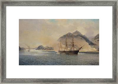 Naval Battle Of The Strait Of Shimonoseki Framed Print by Jean Baptiste Henri Durand Brager