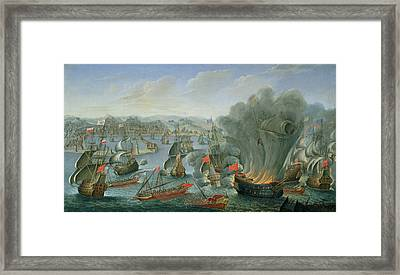 Naval Battle With The Spanish Fleet Framed Print