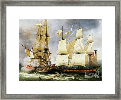 Naval Combat Between French Corvette La Bayonnaise And British Frigate L'embuscade Framed Print