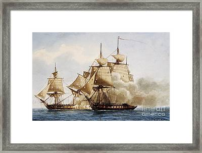 Naval Combat Between French Frigate Amazone And The Santa Margherita Framed Print by Frederic Roux