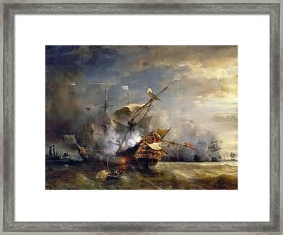Naval Combat Off Cape Lizard In Cornwall Framed Print