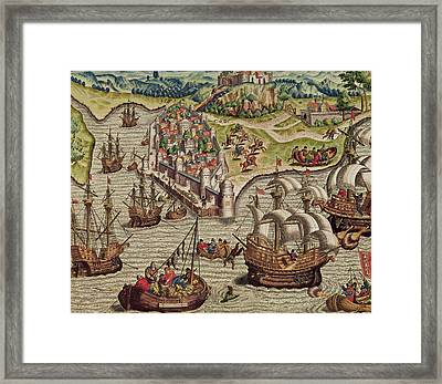 Naval Combat Framed Print by Theodore de Bry