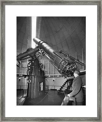 Naval Observatory Telescope Framed Print by Underwood Archives