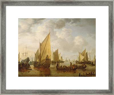 Naval Review Framed Print by Simon Jacobsz Vlieger