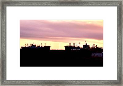 Naval Ships On Grizzly Bay Framed Print by Peggy Leyva Conley