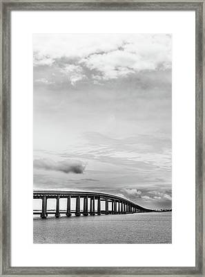 Framed Print featuring the photograph Navarre Bridge Monochrome by Shelby Young