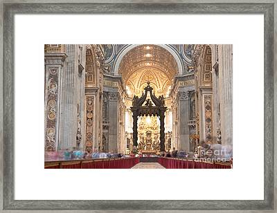 Nave Baldachin Cathedra And People Framed Print