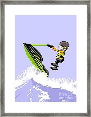 Navigating Between Giant Waves In A Jet Ski Framed Print