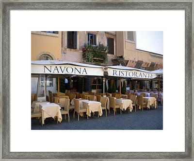Navona Ristorante Framed Print by Nancy Ferrier