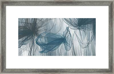 Navy And Gray Abstract - Navy Blue And Gray Modern Art Framed Print by Lourry Legarde
