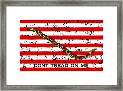 Navy Jack Flag - Don't Tread On Me Framed Print