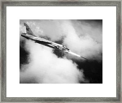 Navy Jet Fires At Viet Cong Framed Print