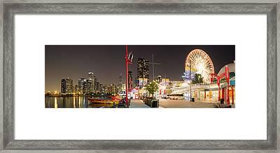Navy Pier At Night Framed Print