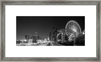 Navy Pier In Black And White Framed Print by Twenty Two North Photography