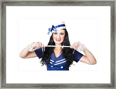 Navy Pin Up Poster Girl Breaking Rope Framed Print by Jorgo Photography - Wall Art Gallery