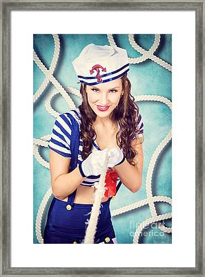 Navy Sailor Pinup Girl In Tug Of War Battle Framed Print by Jorgo Photography - Wall Art Gallery