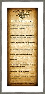 Navy Seals Creed Framed Print by Daniel Hagerman