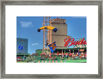 Navy Seals Over Fenway Park - Boston Framed Print by Joann Vitali