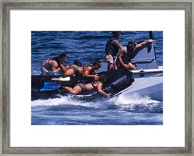 Navy Seals Practice High Speed Boat Framed Print by Michael Wood