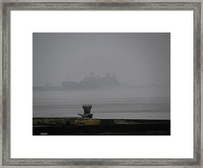Navy Ships In The Fog Framed Print by Tom Hefko