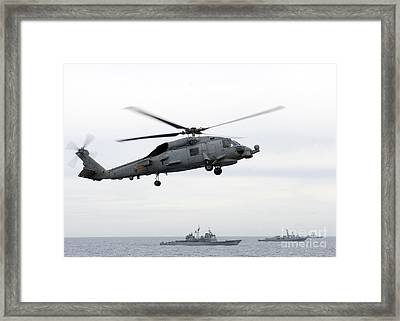 Navy Ships Maneuver Into Formation Framed Print by Celestial Images