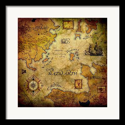 Brett Pfister Nazdarth Map Epic Amazing Colors Landscape Digital Modern Framed Prints