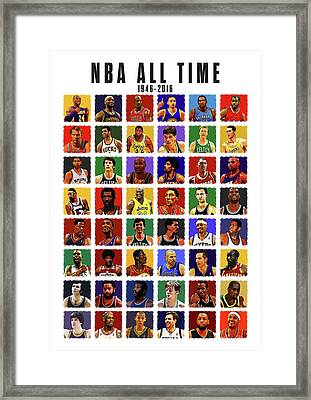 Nba All Times Framed Print by Semih Yurdabak