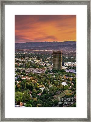 Nbc Universal Sunset Framed Print by David Zanzinger