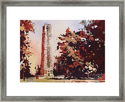 Framed Print featuring the painting Ncsu Bell-tower II by Ryan Fox