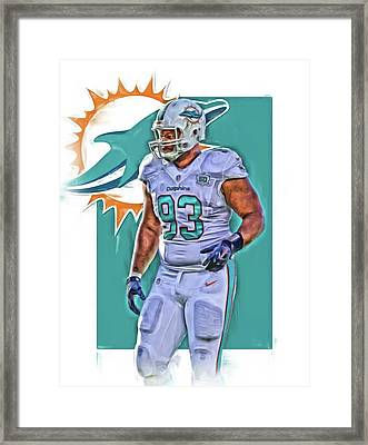 Ndamukong Suh Miami Dolphins Oil Art 2 Framed Print