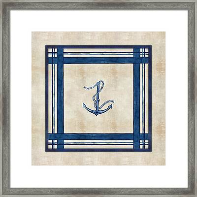 Indigo Ocean - Nautical Anchor Watercolor Stripes Framed Print by Audrey Jeanne Roberts