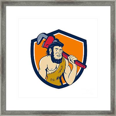 Neanderthal Caveman Plumber Monkey Wrench Shield Cartoon Framed Print