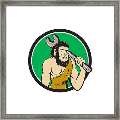 Neanderthal Caveman With Spanner Circle Cartoon Framed Print