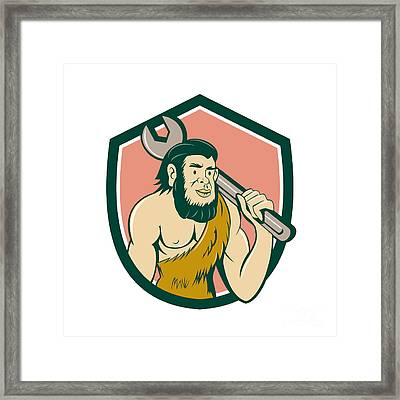 Neanderthal Caveman With Spanner Crest Cartoon Framed Print