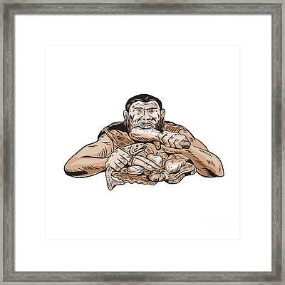 Neanderthal Man Eating Paleo Diet Etching Framed Print by Aloysius Patrimonio